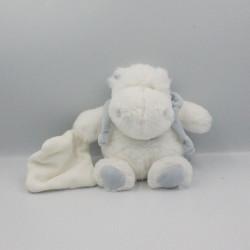 Doudou et compagnie hippopotame blanc bleu mouchoir