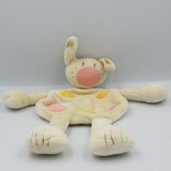 Doudou plat lapin beige rose orange jaune BABYSUN