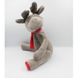 Doudou cerf elan renne gris écharpe rouge OBAIBI