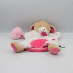 Doudou et compagnie marionnette chien blanc rose lovely fraise