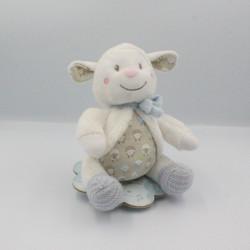 Doudou musical mouton blanc beige bleu laine NICOTO