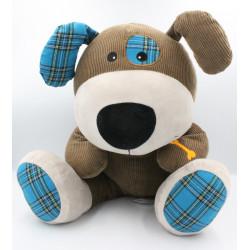 Grand Doudou chien marron gris bleu os Sherlock CARRE BLANC
