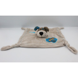 Doudou plat chien gris marron bleu os CARRE BLANC