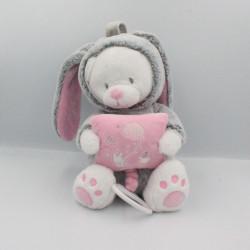 Doudou musical ours lapin gris rose blanc coussin MOTS D'ENFANTS