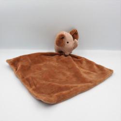 Doudou éléphant marron mouchoir ZEEMAN