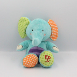Doudou éléphant bleu violet vert orange FISHER PRICE