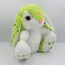 Doudou peluche lapin vert blanc étoiles yeux brillant BARRADO