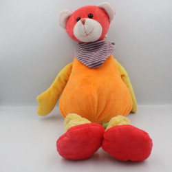 Doudou ours orange jaune rouge vert PLAYKIDS