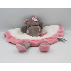 Doudou plat Hippopotame marron blanc rose Zoé BABY NAT