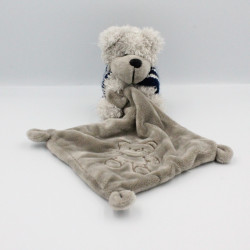 Doudou ours gris pull rayé...
