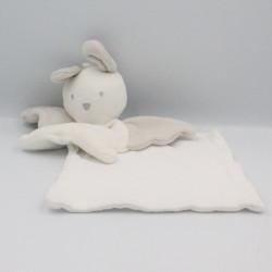 Doudou lapin ange blanc gris mouchoir BERLINGOT