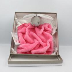Doudou plat lapin plume rose framboise Lapinou KALOO