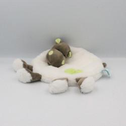 Doudou plat Hippopotame blanc vert marron Bazile l'hippo BABY NAT