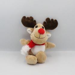 Doudou renne élan cerf beige écharpe rouge Noël OPC