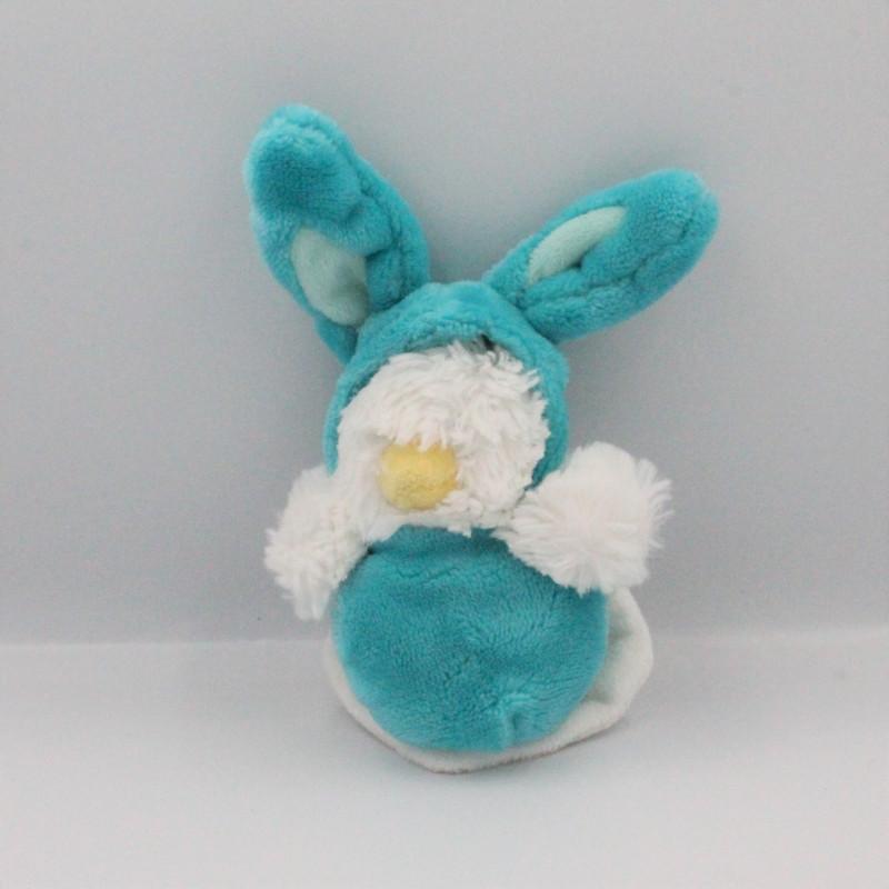 Petit Doudou poussin bleu mouchoir déguisé en lapin BABY NAT