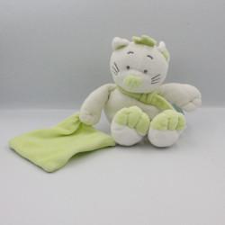 Doudou chat blanc vert mouchoir Douceur BABY NAT