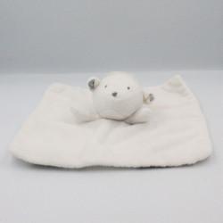 Doudou plat mouton agneau blanc ronds gris OBAIBI
