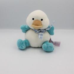 Doudou oiseau canard bleu blanc MAILOU TRADITION