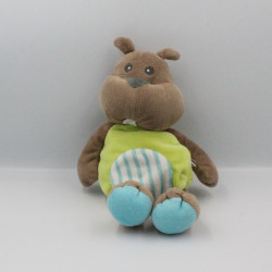 Doudou castor marron vert bleu rayé BABY NAT