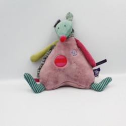 Doudou musical souris rose vert Les Jolis pas beaux MOULIN ROTY