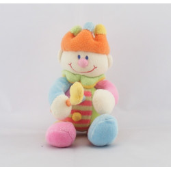 Doudou semi plat Clown multicolore couronne JOLLYBABY