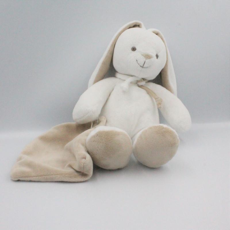 Doudou lapin blanc beige mouchoir LA GALLERIA
