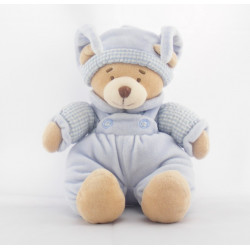 Doudou ours salopette bleu pull vichy NICOTOY