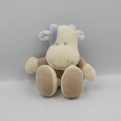 Petit Doudou vache marron beige taches bleues TIAMO COLLECTION