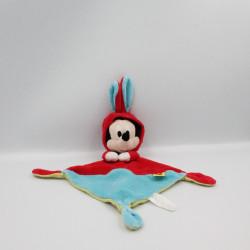 Doudou plat Mickey déguisé en lapin rouge bleu DISNEY