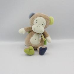 Doudou musical singe beige bleu vert BABYSUN