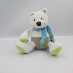Doudou musical loup renard blanc gris vert bleu TEX BABY