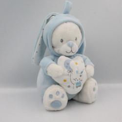 Doudou musical ours bleu blanc étoiles MAX ET SAX