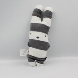 Doudou lapin rayé blanc gris ZEEMAN