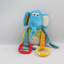 Doudou éléphant bleu vert hochet SIGIKID