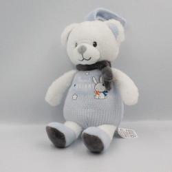 Doudou musical ours blanc bleu gris Sweet Dreams MOTS D'ENFANTS