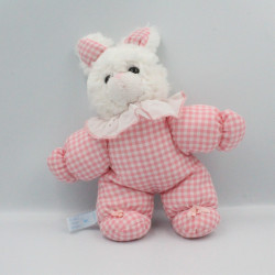 Doudou lapin blanc rose vichy BLANCHET