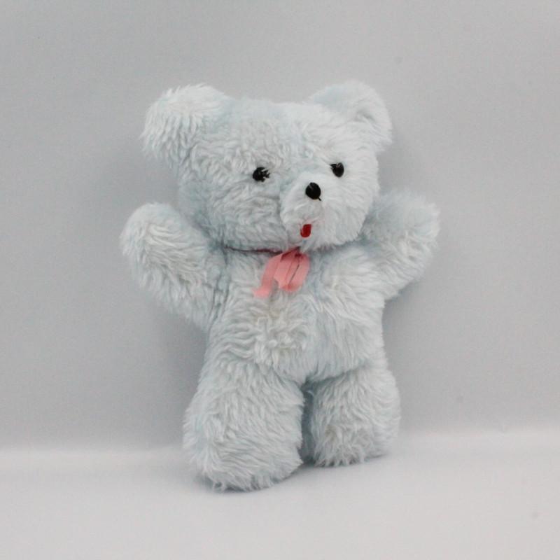 Ancienne peluche ours bleu noeud rose Vintage
