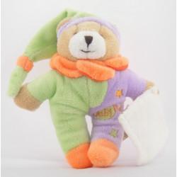 Mini Doudou ours mauve orange vert étoile BABY NAT