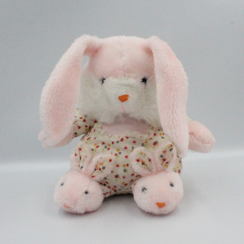Ancienne peluche lapin blanc rose coeurs fleurs chaussons GIFTOYS