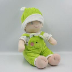 Doudou peluche bébé poupée salopette vert SANDY