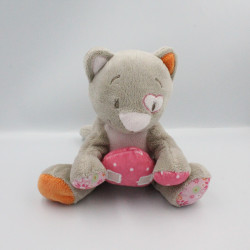 Doudou musical chat gris rose fleurs coeur Iris NOUKIE'S