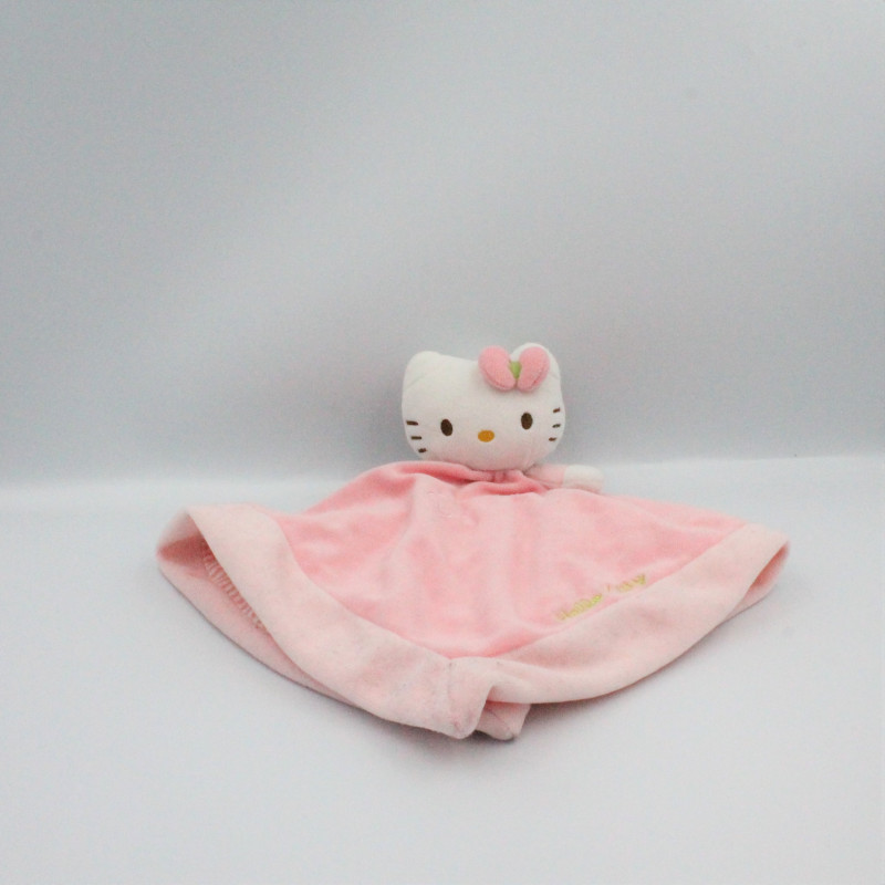 Doudou plat chat Hello Kitty rose SANRIO LICENSE JEMINI