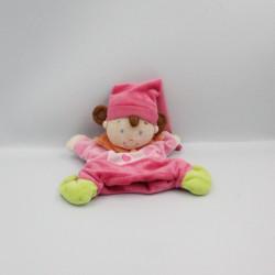 Doudou marionnette lutin poupée arlequin rose orange vert NICOTOY
