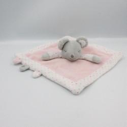 Doudou plat souris grise blanche rose pois OBAIBI