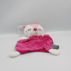 Doudou plat chat blanc rose pois ORCHESTRA PREMAMAN
