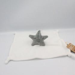 Doudou plat blanc étoile grise PREMAMAN