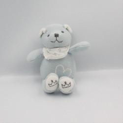 Doudou ours bleu foulard blanc coeur LA CHAISE LONGUE