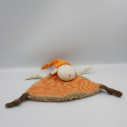 Doudou plat mouton orange marron CREDIT AGRICOLE