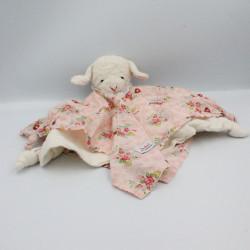 Doudou plat mouton blanc rose fleurs KATHE KRUSE
