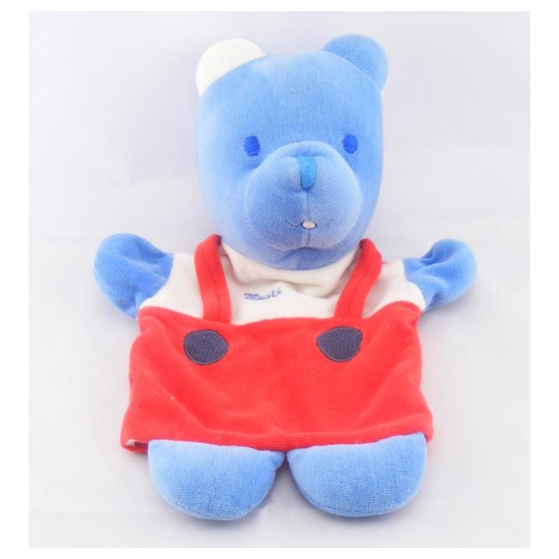 Doudou plat ours bleu salopette rouge MUSTELA
